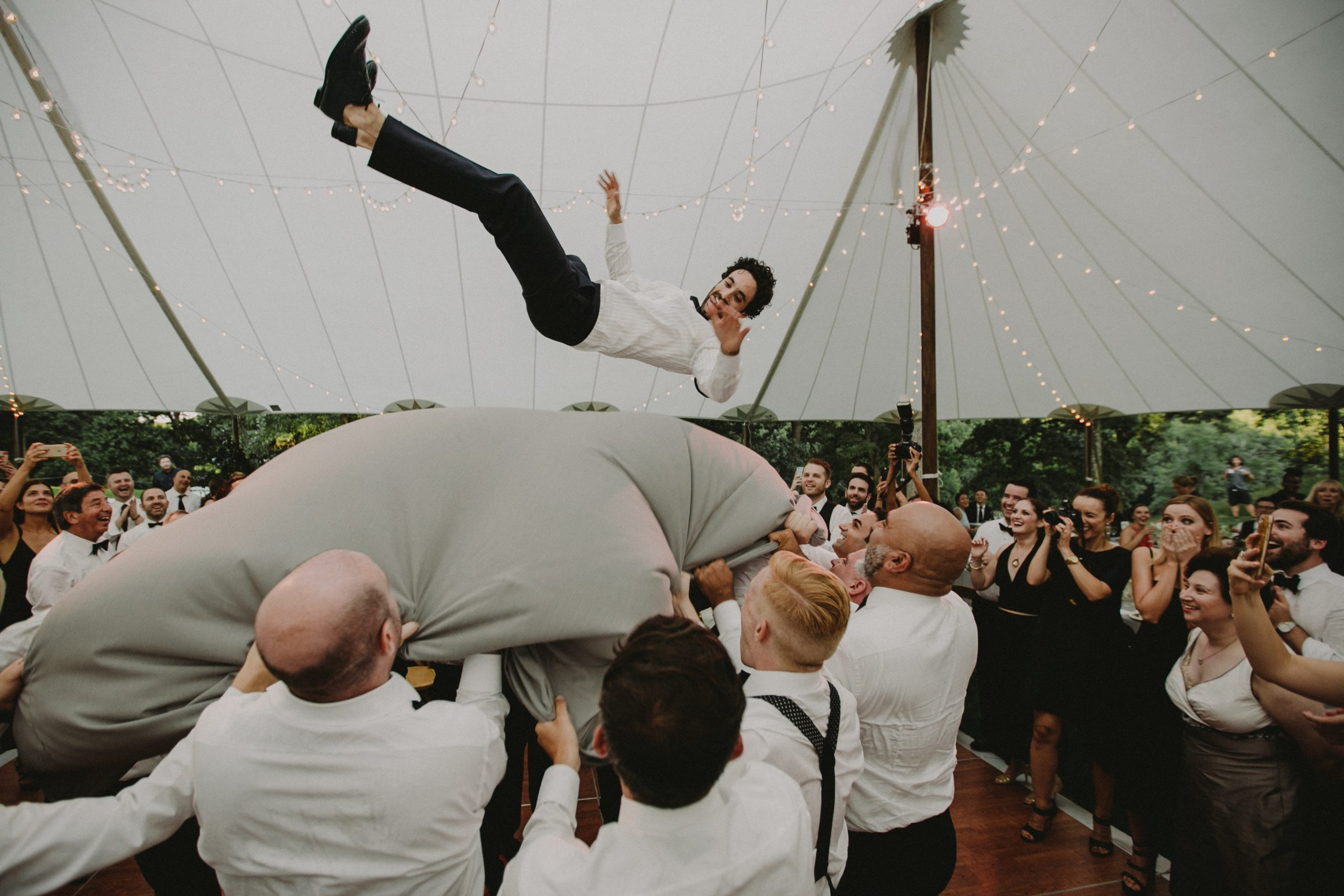 Groom flying in air