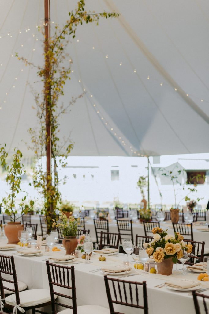 tent with organic flowers
